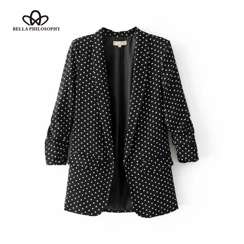 Bella Philosophy Women Casual New Black Folded Sleeve Office Ladies Blazer Business Jacket Polka Dot Print Female Jacket