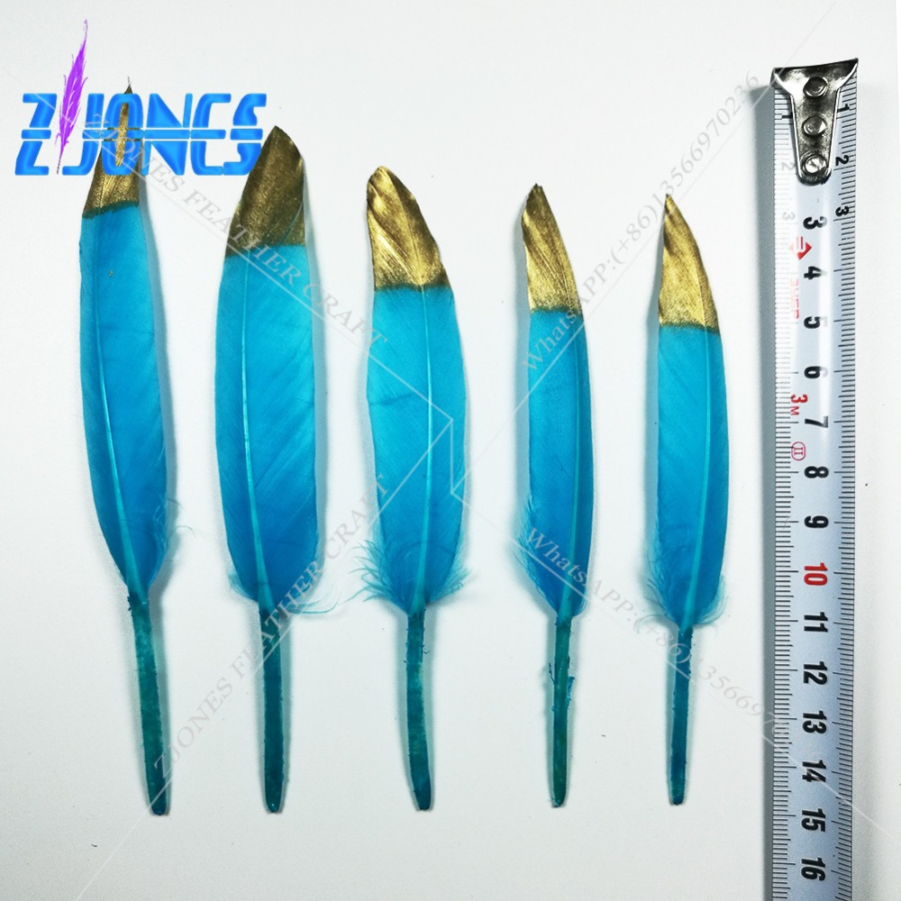 New Arrival Goose feather Gold Tips Blue Goose feathers 100pcs 10-15cm 4-6 for Craft Decoration