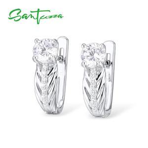 Image 4 - SANTUZZA takı seti kadınlar için saf 925 ayar gümüş parlak beyaz kübik zirkon yüzük küpe seti basit moda takı