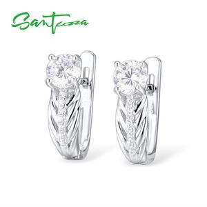 Image 4 - Santuzza conjunto de jóias para as mulheres puro 925 prata esterlina brilhante branco zircônia cúbica anel brincos conjunto simples moda jóias