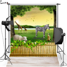 Zoo Vinyl Photography Background Backdrop For Kids Forest Photo New Fabric Flannel Background For Children Photo Studio 2438