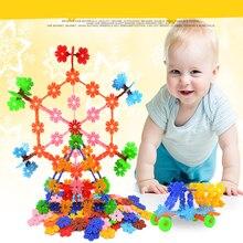 Colorful Snowflake Building Plastic Blocks Kids Toy Bricks DIY Assembling Early Educational Learning 140pcs Pack in Box