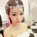 2016 fashion alloy crystal tassle head chain Rhinestone Bridal headbands wedding hair Jewelry 3 colors