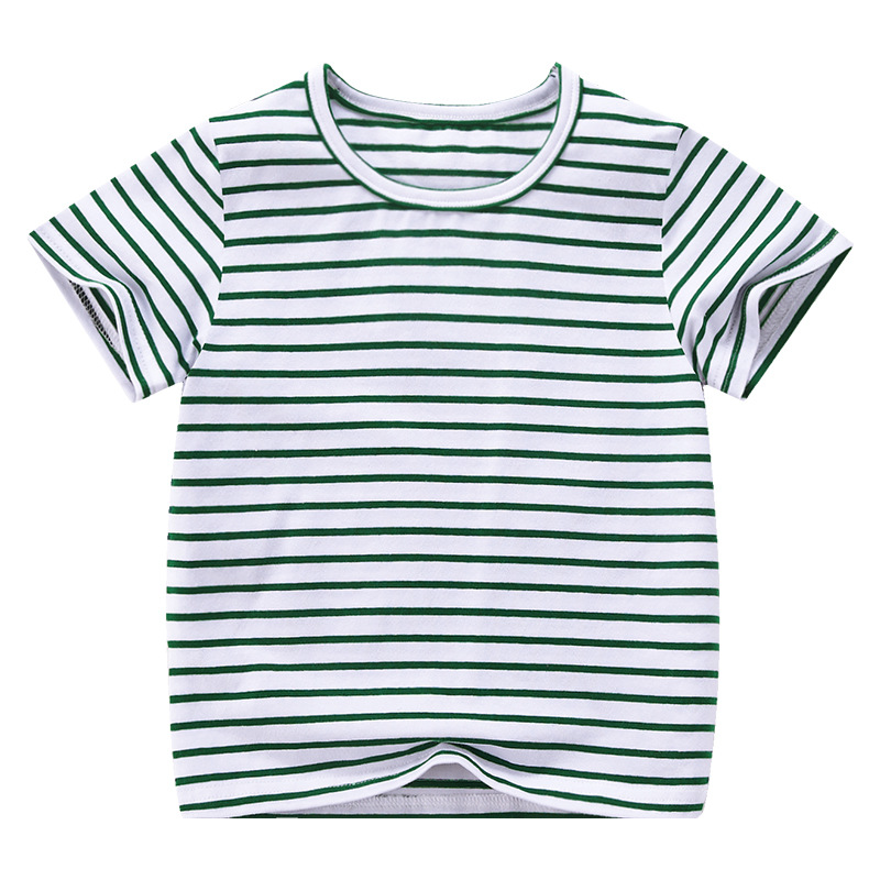 VIDMID Boy Girl Tee Solid Color t-shirts Baby Boys Girl T-shirts Summer striped Short Sleeve Kids Tees Children Clothing 7042 06 5