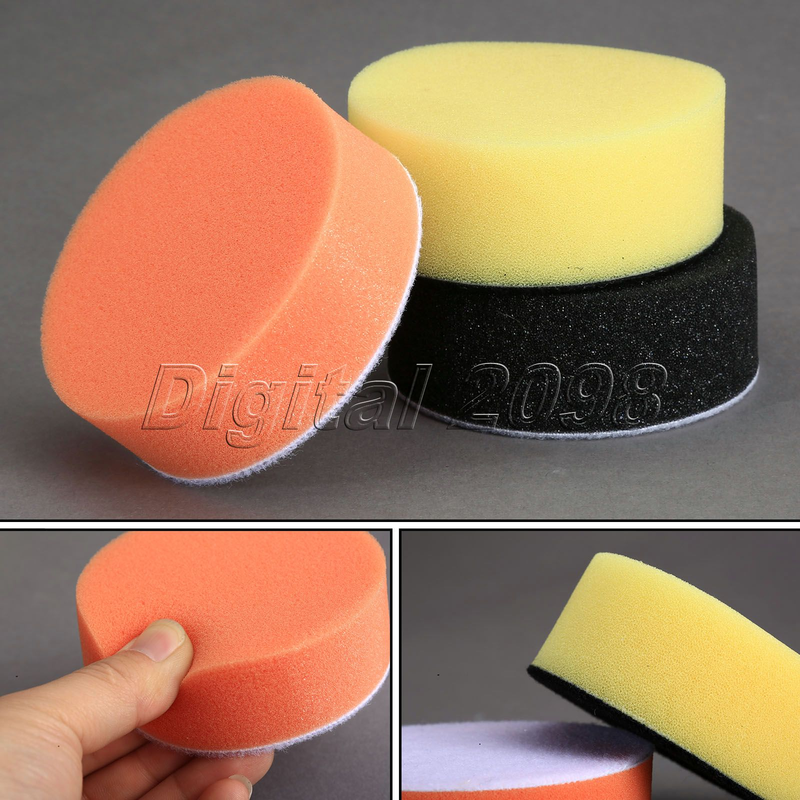 Yetaha 3Pcs 3 Inch 80mm Felt Soft Auto Car Waxing Sponge Foam Polishing Buffing Pads Kit Car Wash Tool Car Wax Cleaning Polisher