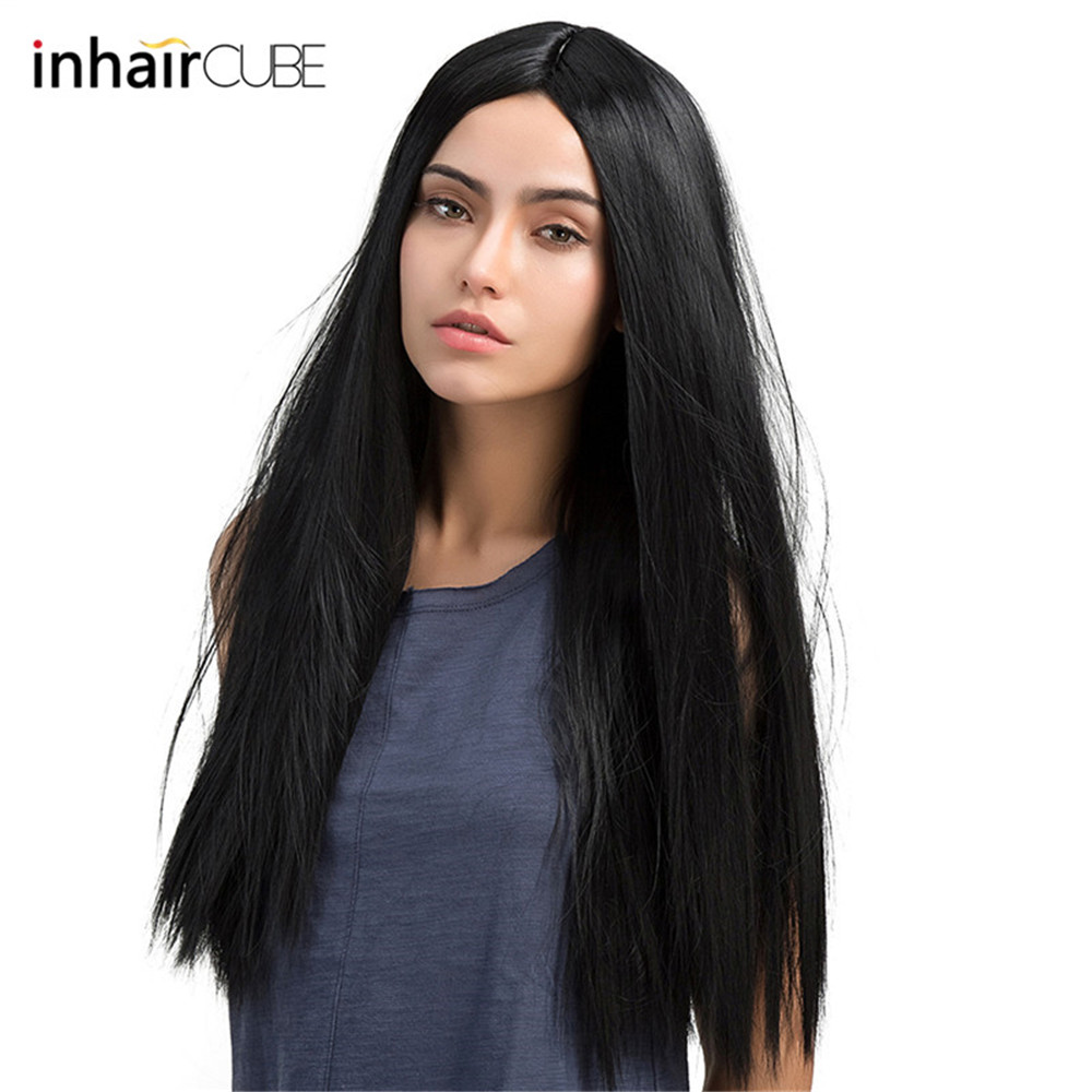 Esin 24 inch Full Wig Natural Black Real Thick Synthetic Long Straight Hair Wigs for Women Daily Costume Heat Resistant Fiber