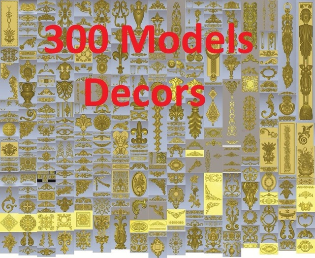 300個3d stl救済モデルcnc、artcam、熱望、デコレーション