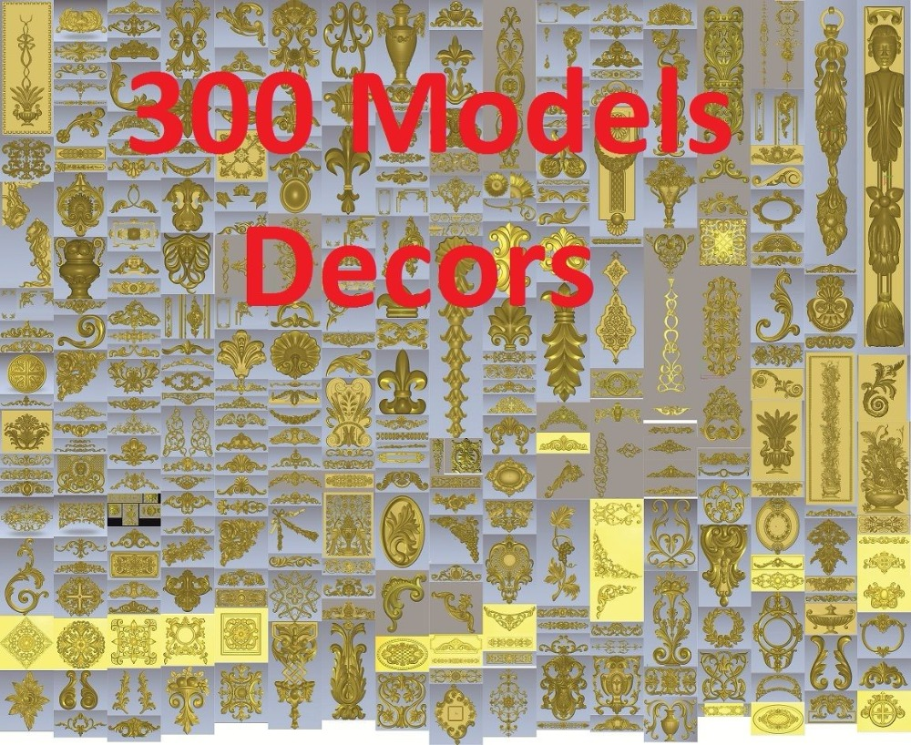 300 Pieces 3d STL Relief Models For CNC, Artcam, Aspire, Decors