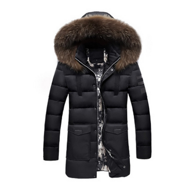 2017 New Fashion Warm Winter Duck Down Jacket for Men Fur Collar Parkas Hooded Coat Plus Size Overcoat Style jacket
