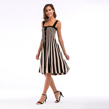 YYFS 2019 High Quality Womens Bohemian Casual Striped Cotton Button Summer Dresses Sexy Loose Dress Plus Size For Women