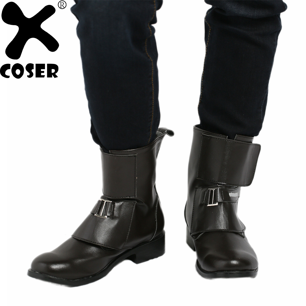 XCOSER Rogue One A Star Wars Story Jyn Erso Shoes Black PU Ankle Boots 2018 Halloween Party Movie Cosplay Shoes For Men Women
