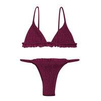 LYSEACIA S XL Hot Thong Bikini 2018 Sexy Swimsuit Female Separate Push Up Swimwear Frill Micro Bikini Set for Women Bathing Suit