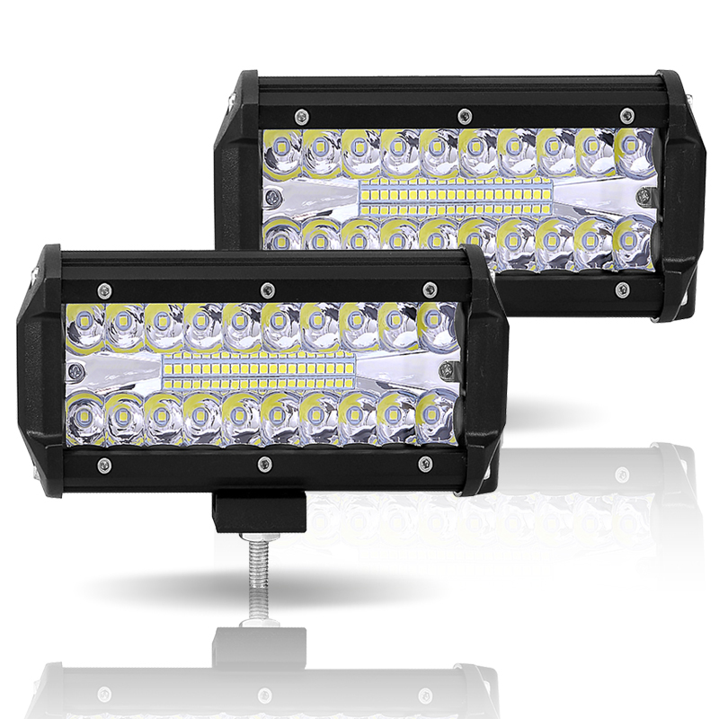 Image 2 - Led Light Bar Offroad 4x4 7 Inch 120W Led Work Lights for Tractors Spot Flood Combo Beam Triple Row Led Fog Lamp Driving Lights-in Light Bar/Work Light from Automobiles & Motorcycles