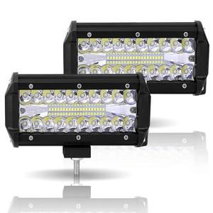 Image 2 - Led Light Bar Offroad 4x4 7 Inch 120W Led Work Lights for Tractors Spot Flood Combo Beam Triple Row Led Fog Lamp Driving Lights