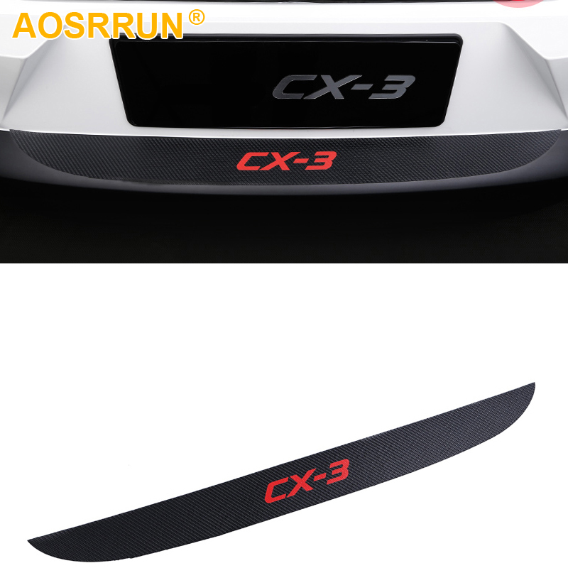 PU leather Carbon fiber Stying After guard Rear Bumper Trunk Guard Plate For Mazda <font><b>CX</b></font>-3 CX3 2016 2017 <font><b>2018</b></font> Car Accessories image
