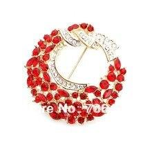Red Rhinestone Crystal Diamante Wreath Pin Brooch Women Gold Tone 2 Inch