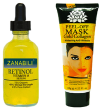 Pure Retinol Vitamin A 2.5%  Hyaluronic Acid Facial Serum Face Cream+120ml 24K Golden Mask Anti Wrinkle Anti Aging Facial Mask