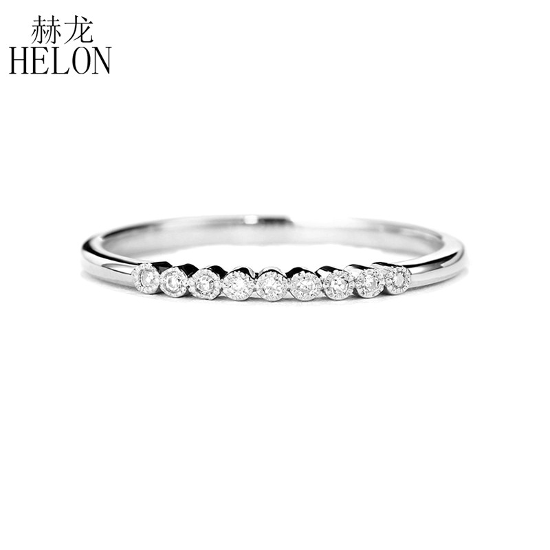 HELON Moissanites Ring Sterling Silver 925 Jewelry VVS/FG Color Test Positive Moissanites Diamond Engagement Wedding Ring Women