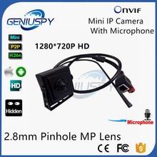 Micro 2.8 мм Объектив Pinhole мини IP Камера 720 P HD охранных Системы видеонаблюдения внешний микрофон Onvif 2.0 видео CAM