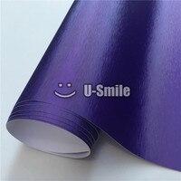 Violeta Premium Mate Púrpura Cromo Cepillado Película de Vinilo Adhesivo Burbuja Libre Para El Coche que Envuelve Tamaño: 1.52*20 M