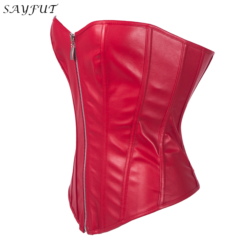 SAYFUT Womens Faux Leather Zipper Front Bustier Corset Top Waist Control Gothic Cincher Black Red Steampunk Slim Corselet S-6XL