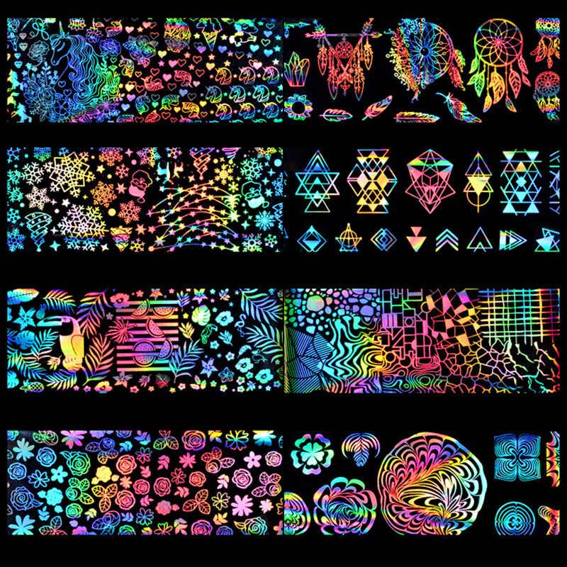 8 pz/set Laser Colorato Cielo Stellato Chiodo Sventa Adesivi Dream Catcher Fiori Frutta di Stile Non-appiccicoso Laser Unghie artistiche Sticker