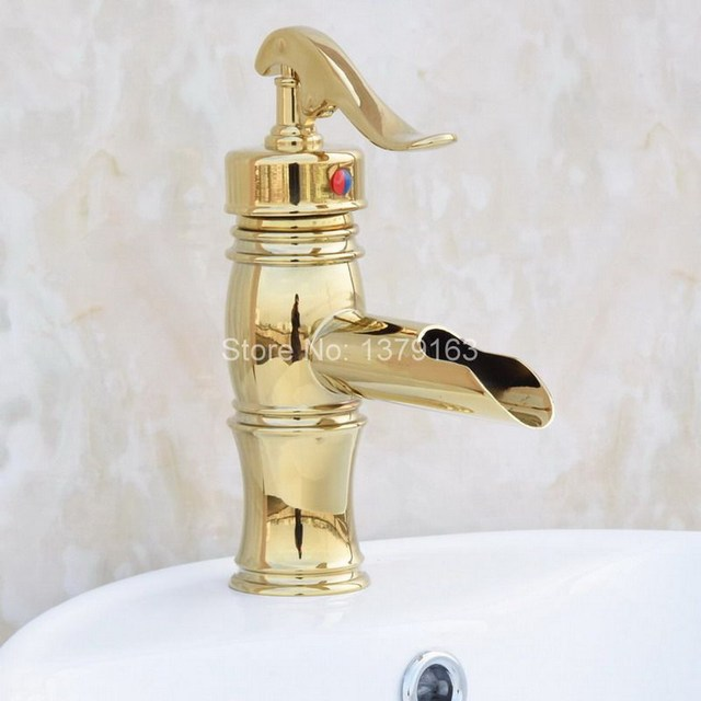 Gold Color Br New Water Pump Look Style Single Hole Lever Bathroom Vessel