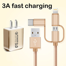 Quick Charge 3.0 Fast USB Charger&1M 3A usb cable 3 in1 For iPhone Samsung Xiaomi huawei US Plug Mobile Phone adapter quick charge 3 0 usb charger travel for iphone samsung micro usb type c fast charging 3 ports eu us plug mobile phone charge
