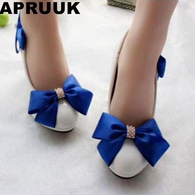 93fba5be8c9b Blue bow wedding shoes for woman high heels or custom make heels for brides  bridesmaid party dress shoe white PR654