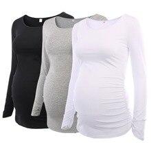 Комплект из 3 предметов, Женская туника для беременных, топы, одежда для мамы, красивая футболка с длинными рукавами и рюшами, с глубоким вырезом, для беременных