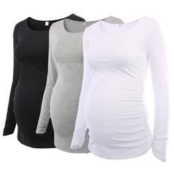 Упаковка из 3 шт Для женщин Туника для беременных Топы Mama одежда лестно Сторона Ruching с длинными рукавами овальным вырезом Футболка для