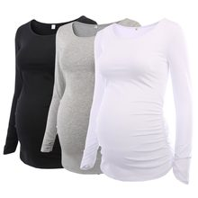 Pack of 3pcs Women's Maternity Tunic Tops Mama Clothes Flattering Side Ruched Long Sleeve Scoop Neck Pregnancy T-shirt(China)