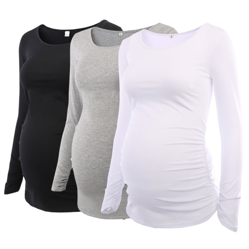Paquete de 3 piezas Maternidad de las mujeres túnica Tops mamá ropa halagador lado fruncido de manga larga con cuello redondo de embarazo camiseta