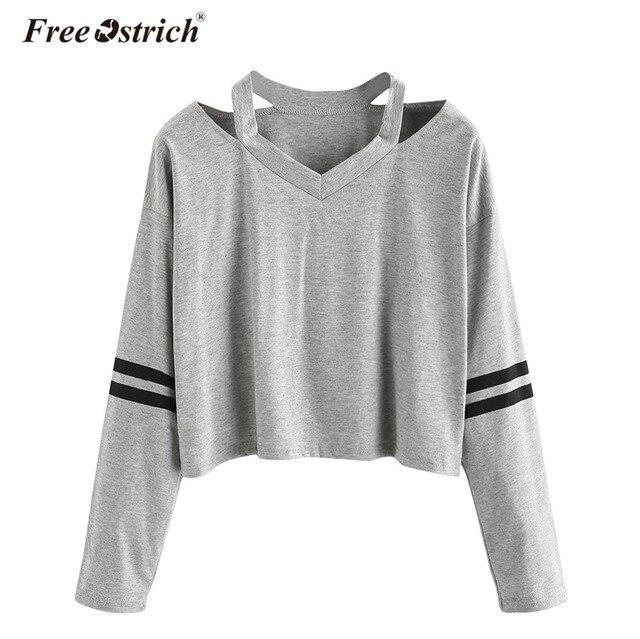 0aca68fd99be Free Ostrich Sweatshirt Hoodies Long Sleeve Solid Sudadera Mujer Jumper  Women Clothing Sweatshirt Tumblr Pullover Crop Top No9