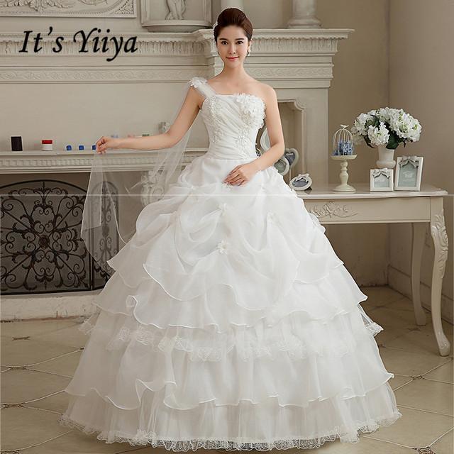 Plus size One Shoulder Wedding Dresses Skirt White Floor Length Bride Gowns Vestidos De Novia HS110