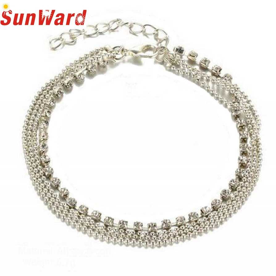 Bracelets on the feet Silver Anklets 2017 Hot Multi Layer Silver Crystal Ball Bracelet Anklet Foot Chain Women Jewelry pesca