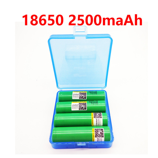 liitokala for samsung 18650 2500mah lithium battery 25r inr1865025r 20a battery for electronic cigarette+BOX 1pcs for samsung original 18650 25r inr1865025r 20a discharge lithium batteries 2500mah electronic cigarette power battery