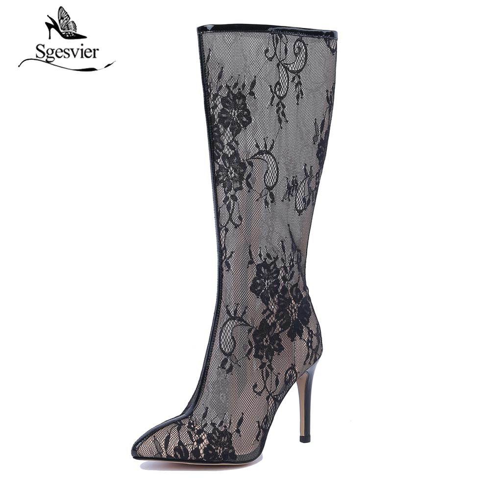 Sgesvier Mid-Calf Summer Boots Thin High Heels Pointed Toe Zipper Sandals Women Shoes Sexy Lace Net Yarn White Shoes B226 women s fashionable sexy maid style net yarn sleep dress black white