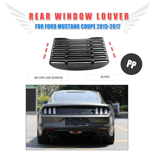 PP Rear Window Louver Air Vent Black Sun Shade Visor Cover for Ford Mustang  2015-2017 ea4af749972