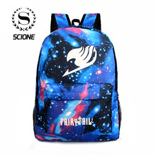 bceb1a4015ed Scione Galaxy Звездное небо плечи рюкзаки школа световой аниме сумки Fairy  Tail принт Мультфильм Путешествия нейлоновая сумка дл.