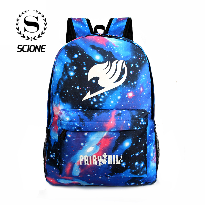 Scione Women Anime Shoulders Backpacks School Luminous Bags Galaxy Fairy Tail Print Cartoon Travel Nylon Bag For Unisex Teenage цена