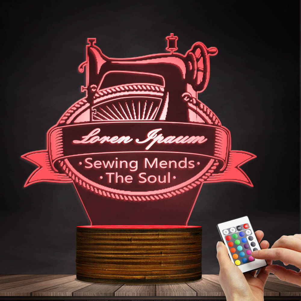 1Piece Sewing Mends The Soul 3D Optical illusion Light Personalised Custom Your Name Sewing Machine LED Night Light Table Lamp free shipping 1piece new arrive marvel anti hero deadpool figure light handmade 3d bulbing illusion lamp led mood light for kid