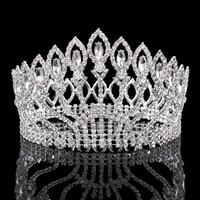 Luxury silver crystal rhinestones headdwear tiaras crowns womens TS008 female ladies ceremony proms party bridal silver crown