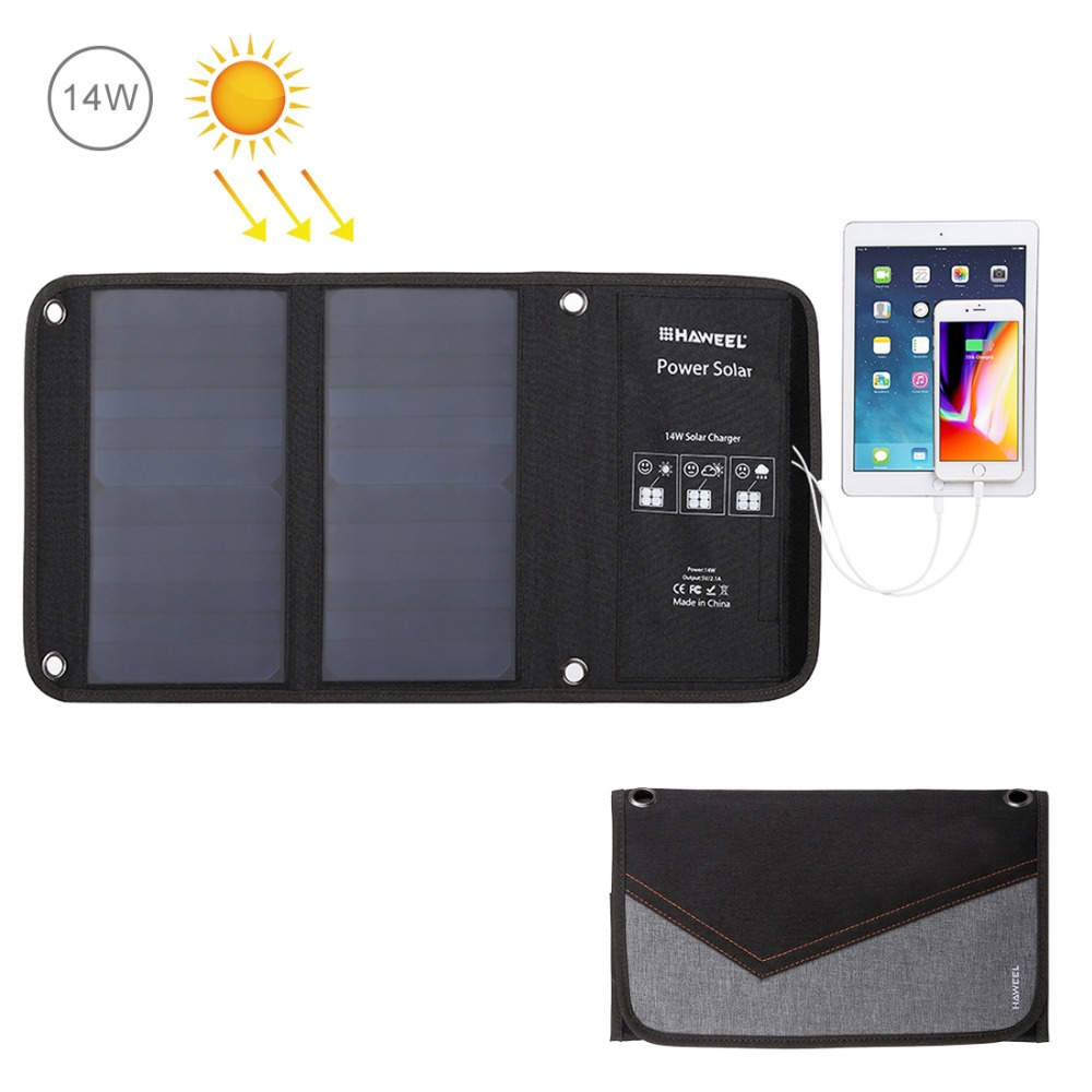 $32.99 | HAWEEL Solar Charger 14W/21W/28W Solar Panel & USB Port Waterproof Foldable for iPhone X/8/8 Plus/iPad Pro Air 2 Mini/Galaxy
