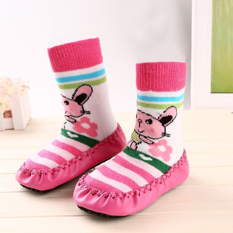 Cat Baby Warm Slip-resistant Faux Leather Floor Walking Socks Kid's Infant Socks Boys Girls Winter Warmer Unisex For Children #5