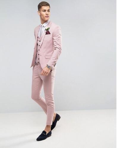 A medida de color rosa de boda para hombres Slim Fit novio blazer fiesta de graduación hombre esmoquin chaqueta + Pantalones + chaleco traje matrimonio Homme Terno