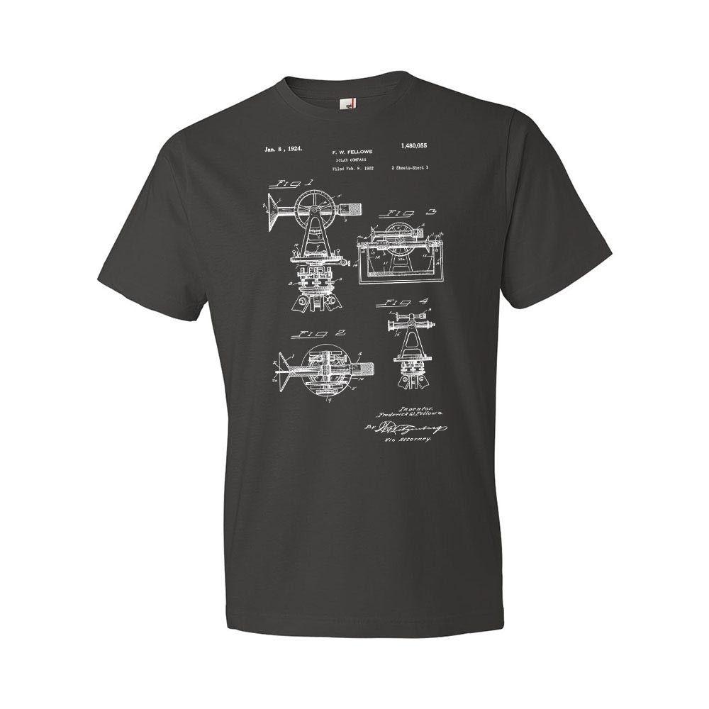 Verão 2019 de manga curta surveyors bússola solar t-shirts engenheiro engenharia civil presente patente vintage classe hoodies
