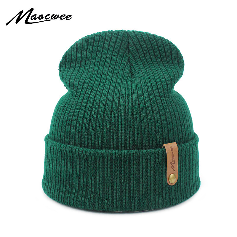 Dad Cap Crochet Autumn Winter Women Men Unisex Knitted Skuilles Beanies Caps Hats Solid Green Black White Balaclava Beanies Hat