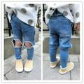 Dressnomore New 2017 Summer Girls Boys Ripped Jeans Elastic Waist Designer Boys Jeans Denim Trousers For Kids Size 18M-5T