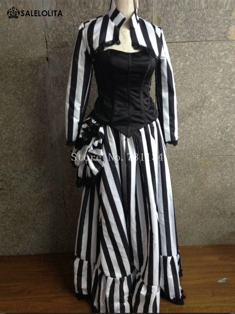 17th Gothic Victorian Bustle Black And White Striped Dress Edwardian ...